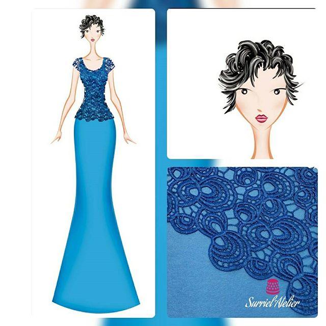 confección a medida Barcelona - boceto vestido de fiesta azul