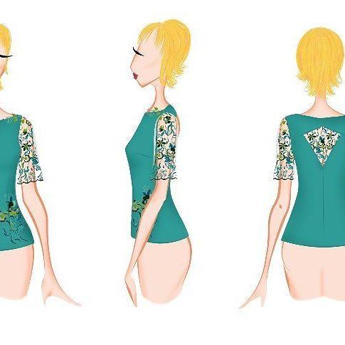 confección a medida Barcelona: bocetos blusa bordada