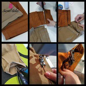 Arreglos de ropa en Barcelona bajos realizados por modista Barcelona en Surriel Atelier