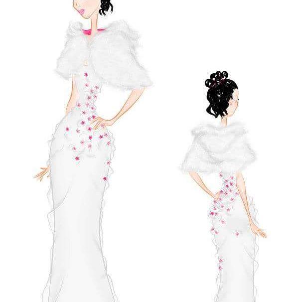 Dibujo de vestidos de novia por Surriel Atelier, modista en Barcelona