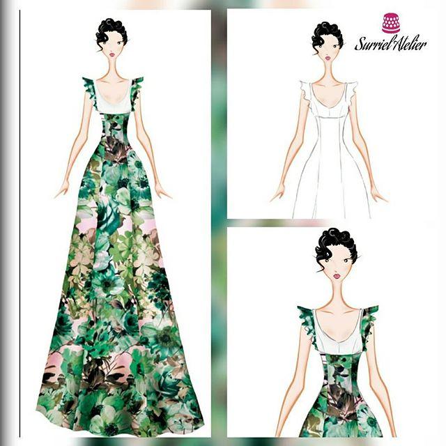 Diseño vestidos de fiesta Barcelona- vestido estampado