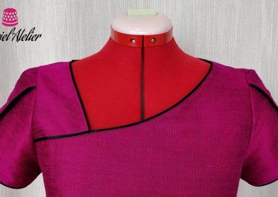 Detalle vestido de seda a medida modista barcelona surriel atelier