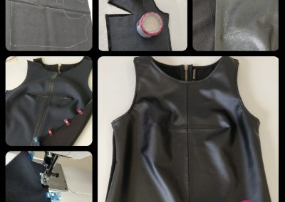 Reconstrucción top polipiel, arreglo de ropa modista barcelona