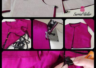 confección a medida vestido de fiesta en seda salvaje por modista barcelona Surriel Atelier